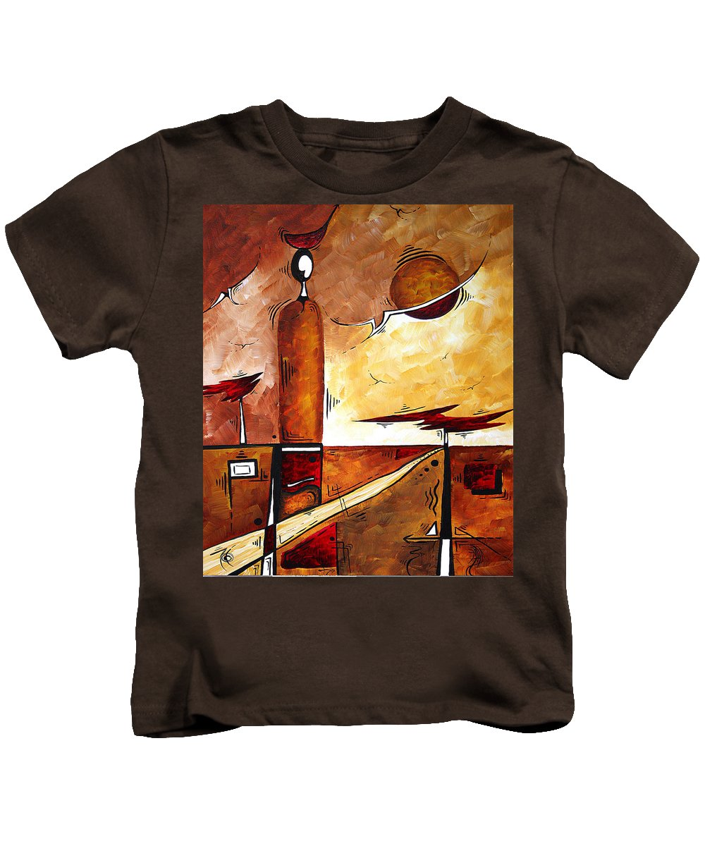 Abstract Kids T-Shirt featuring the painting Abstract Figurative Art African Flame By Madart by Megan Duncanson