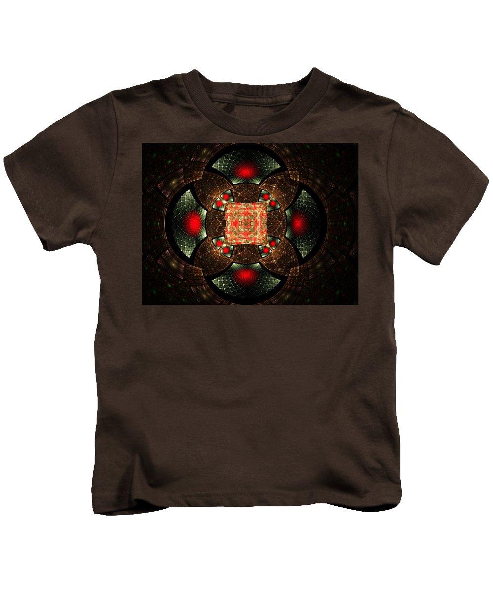 Elena Riim Kids T-Shirt featuring the digital art Abstract Mandala 2 by Elena Riim
