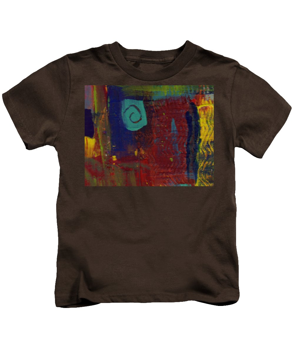 Abstract Kids T-Shirt featuring the painting Abstract With Teal Spiral by Wayne Potrafka