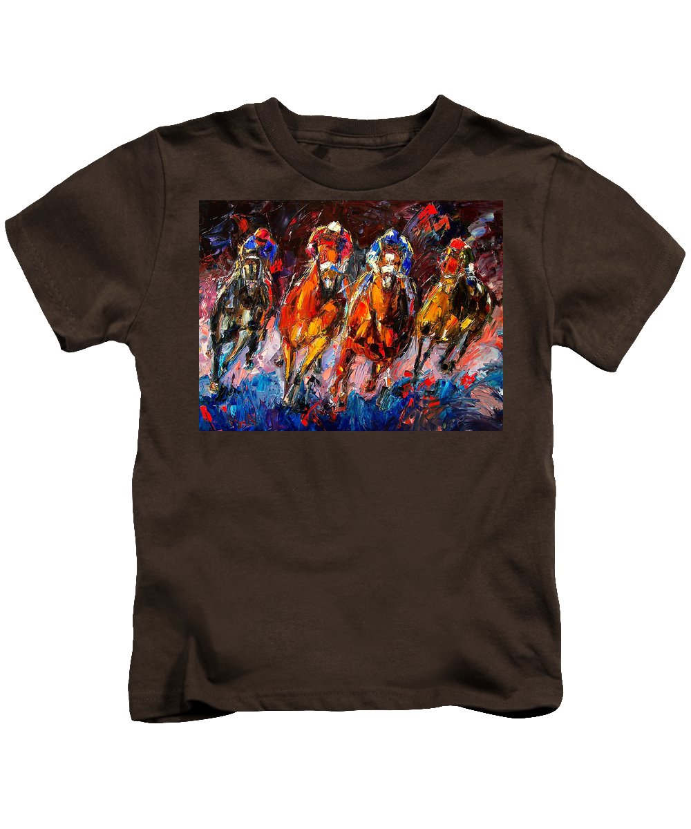 Horse Race Kids T-Shirt featuring the painting Adrenaline by Debra Hurd