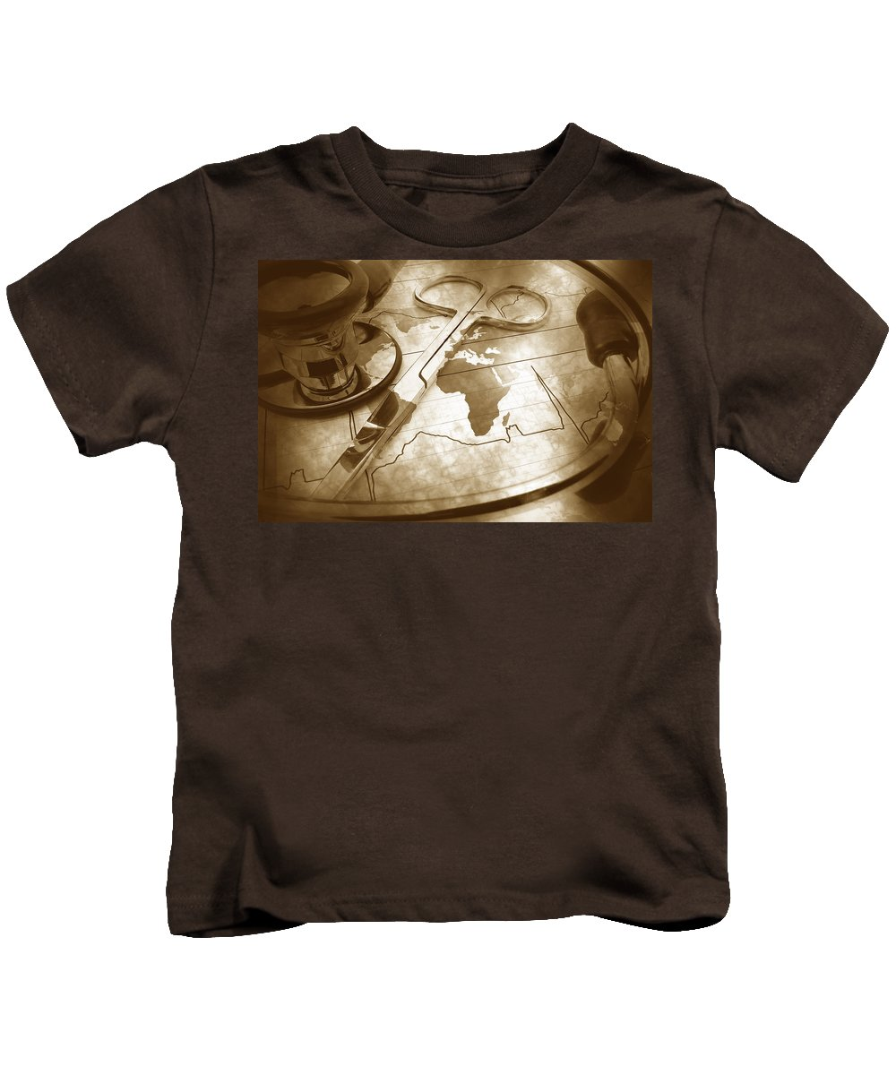 Map Kids T-Shirt featuring the photograph Aged Medical Tools by Phill Petrovic