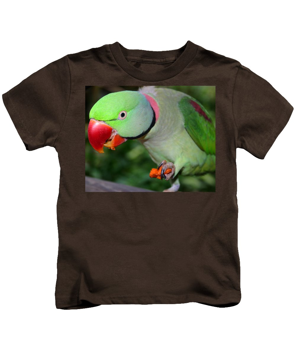 Alexandrine Parrot Kids T-Shirt featuring the photograph Alexandrine Parrot Feeding by Ralph A Ledergerber-Photography