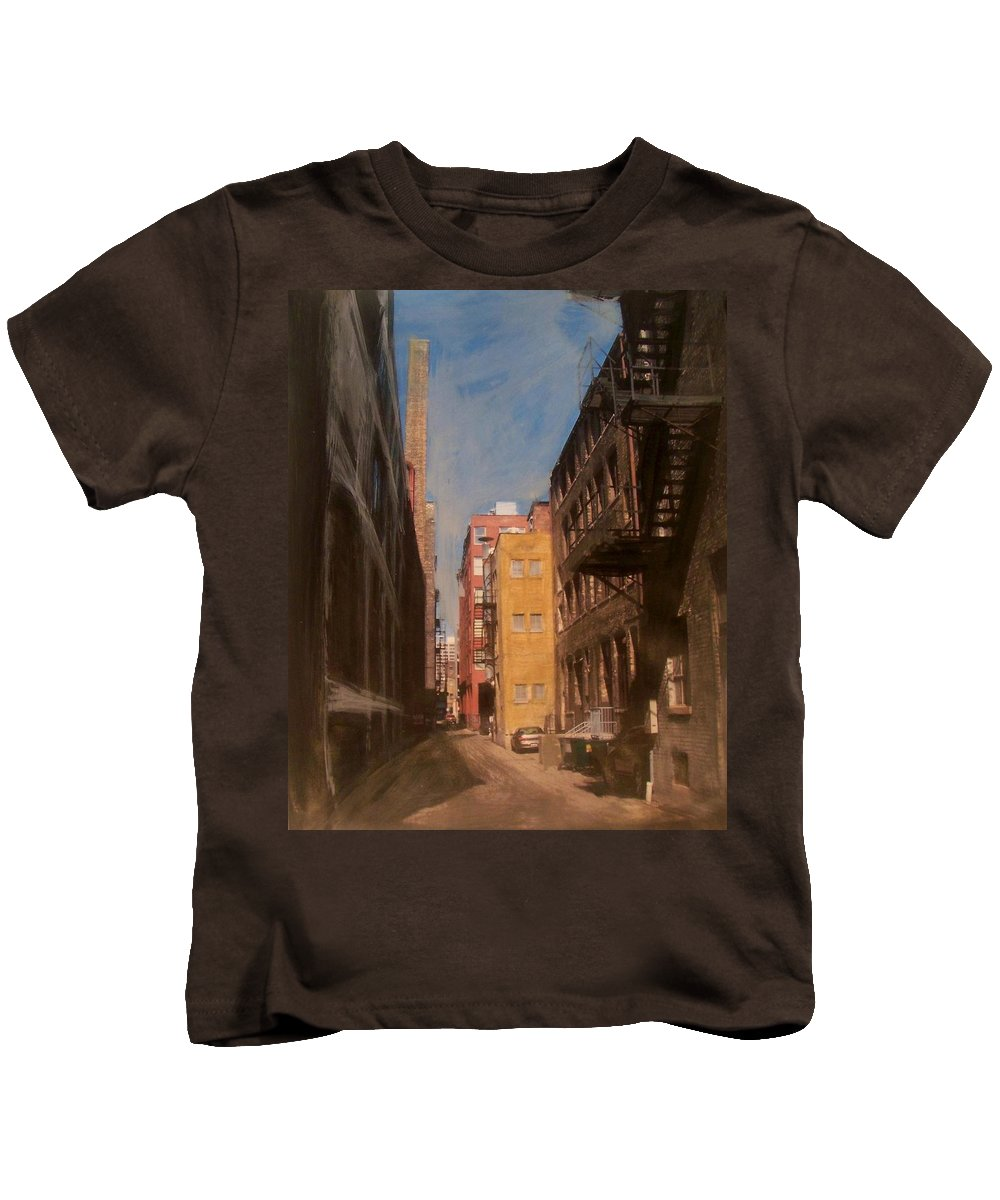 Alley Kids T-Shirt featuring the mixed media Alley Series 2 by Anita Burgermeister