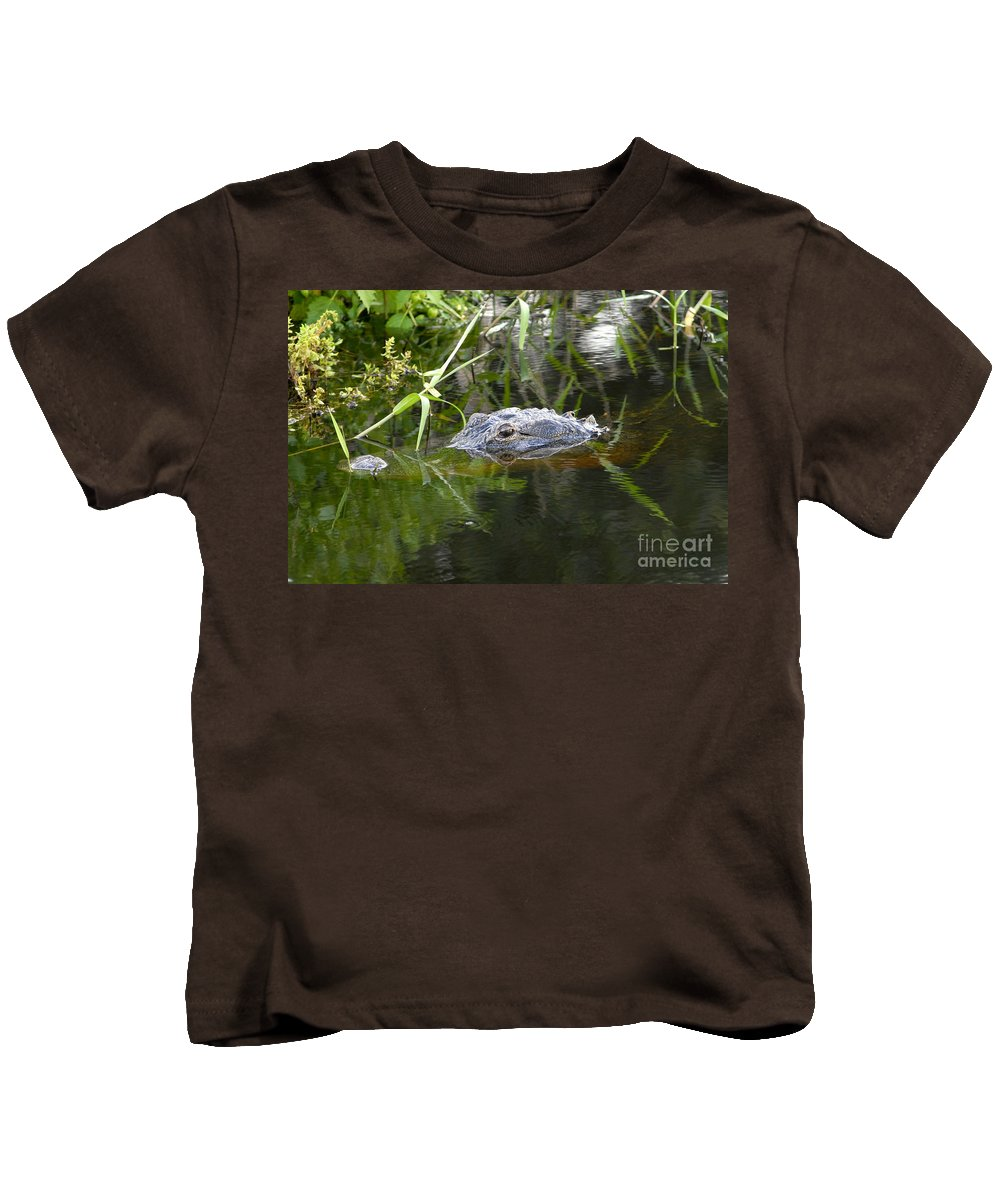 Alligator Kids T-Shirt featuring the photograph Alligator Hunting by David Lee Thompson