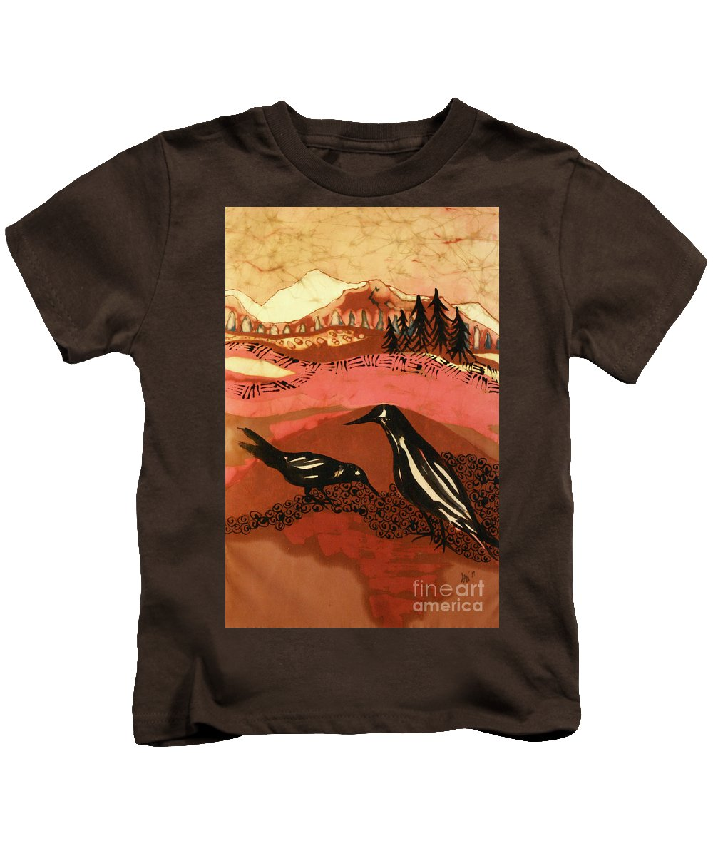Crows Kids T-Shirt featuring the tapestry - textile Alone Together by Carol Law Conklin
