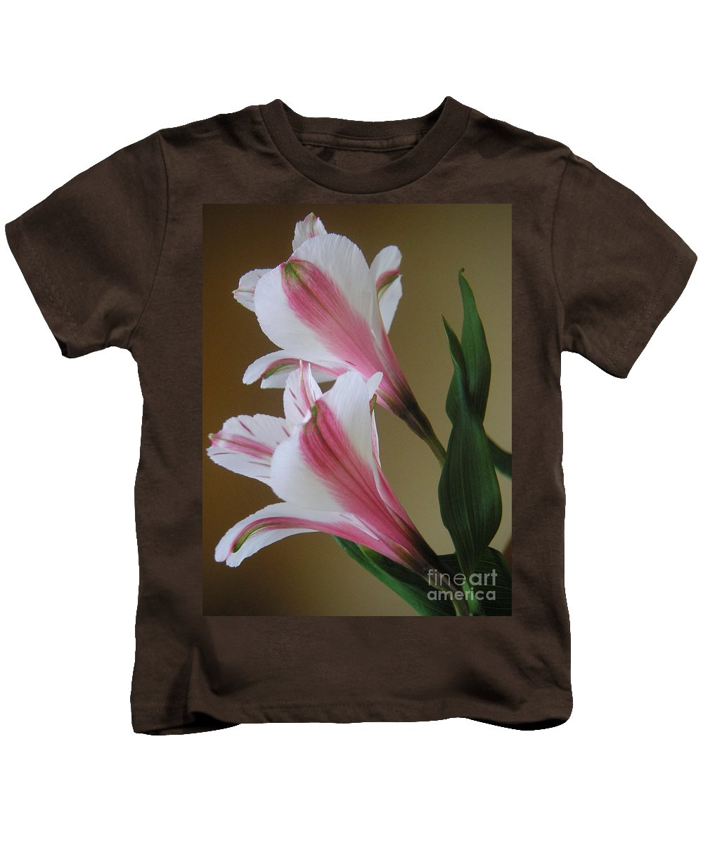 Nature Kids T-Shirt featuring the photograph Alstroemerias - Doubled by Lucyna A M Green