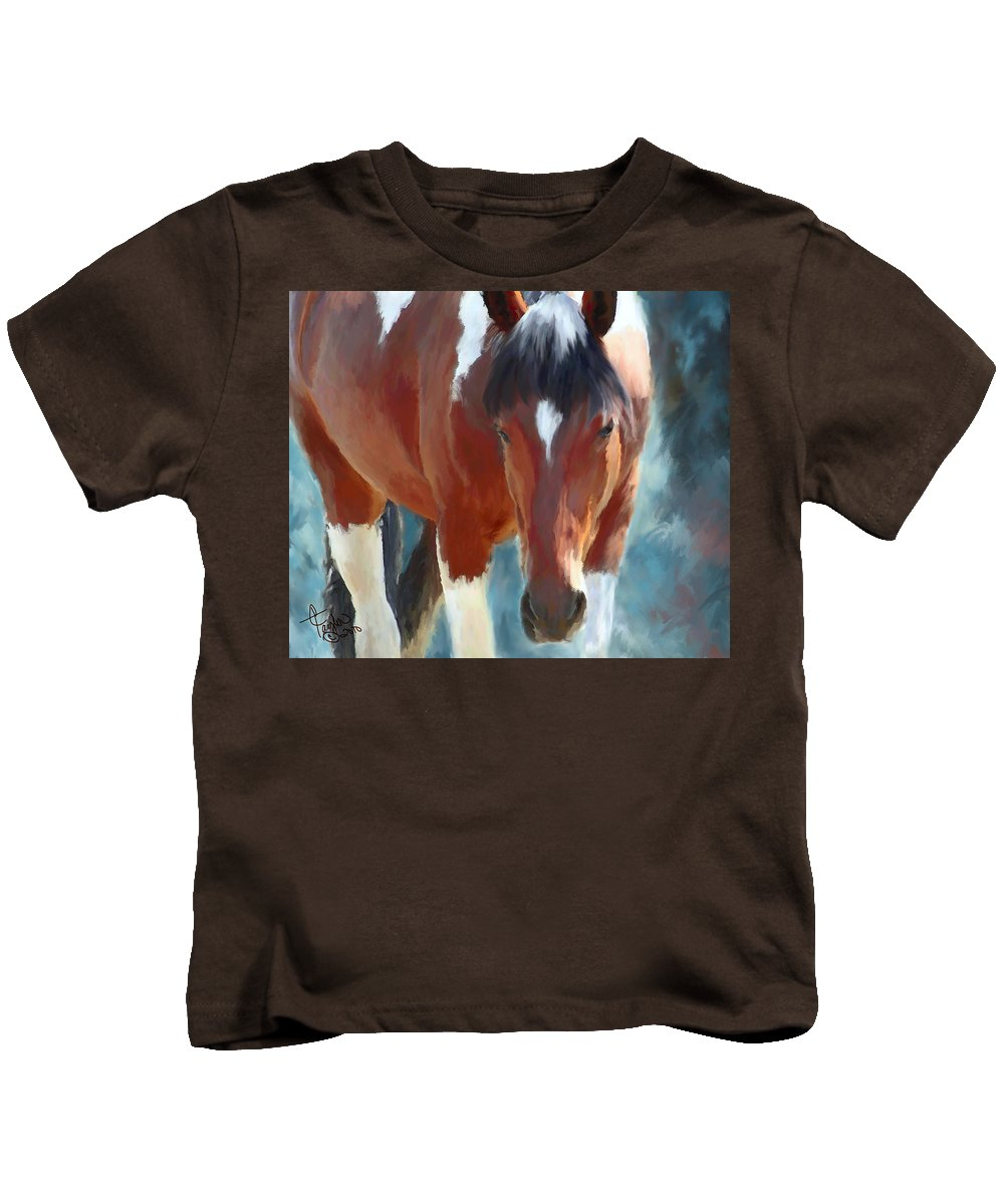 Mixed Media Kids T-Shirt featuring the painting Ambers Run by Colleen Taylor