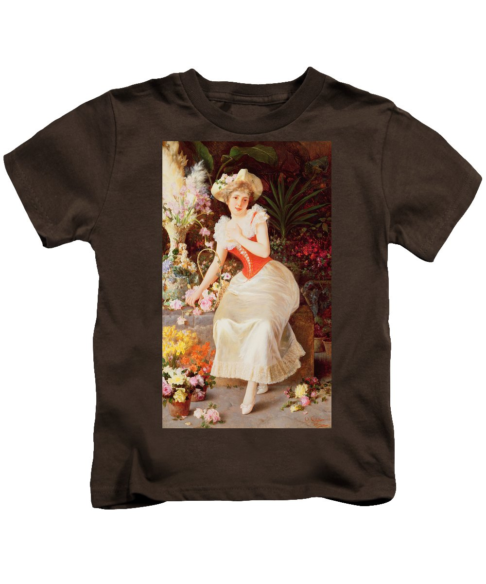 Array Kids T-Shirt featuring the painting An Array Of Beauty by Oreste Costa