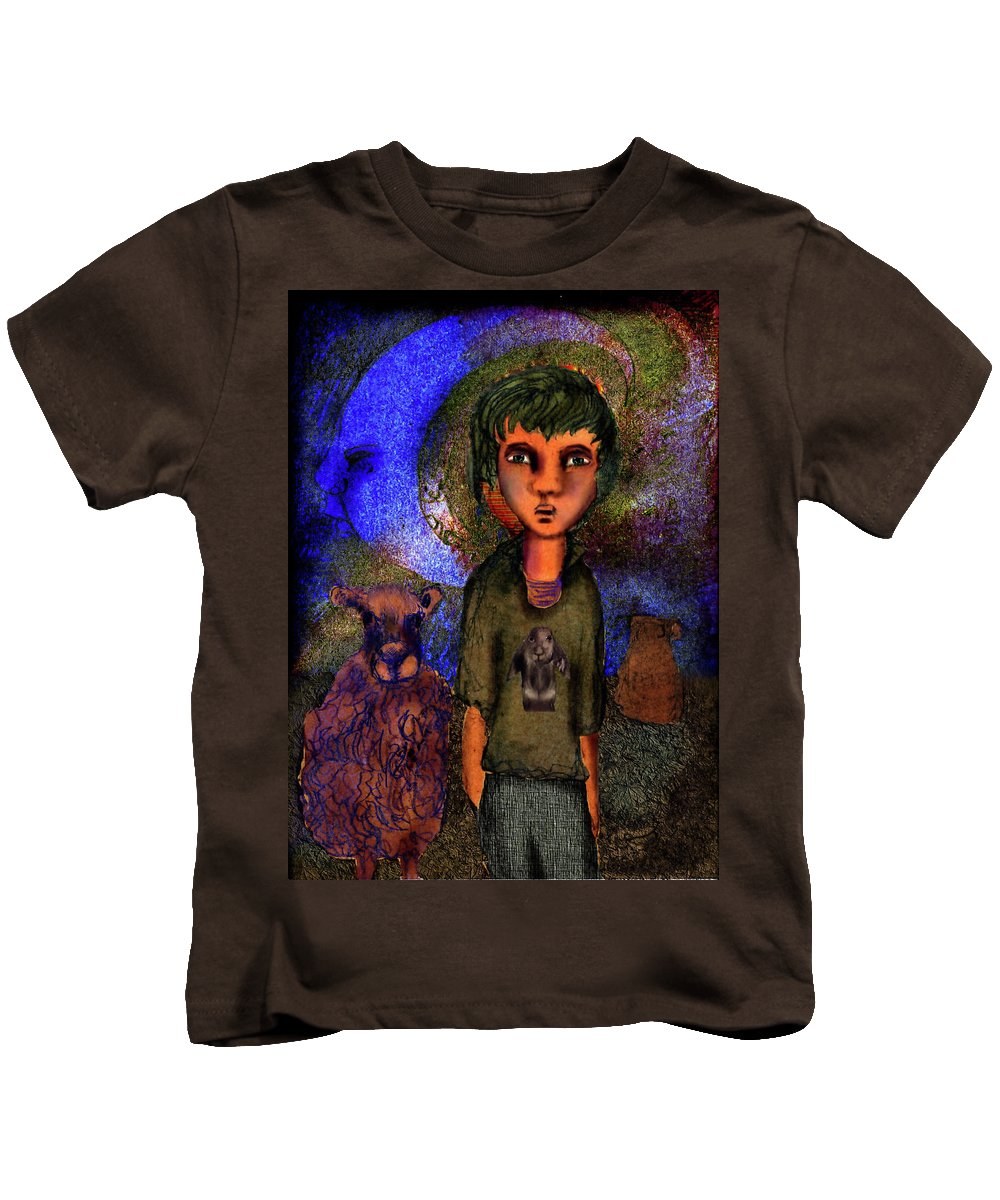Girl Kids T-Shirt featuring the mixed media Ancient Shores by Cynthia Richards
