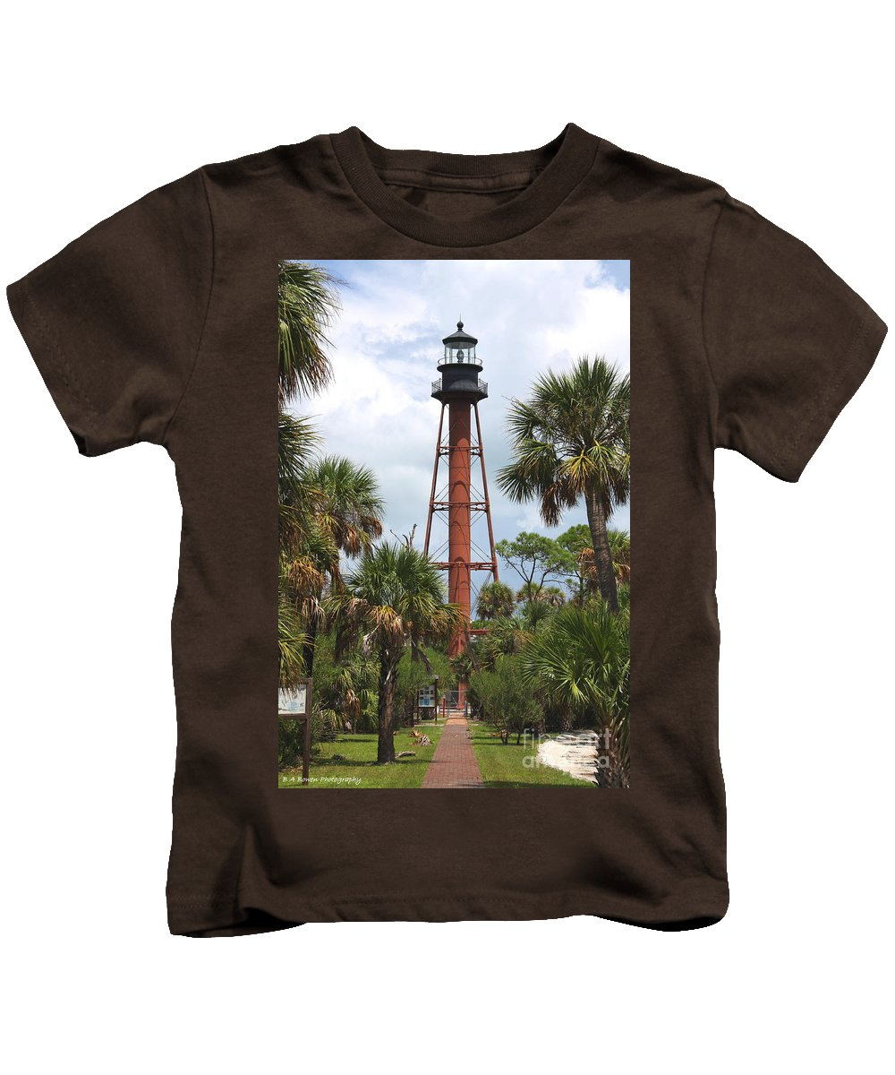 Lighthouse Kids T-Shirt featuring the photograph Anclote Key Lighthouse by Barbara Bowen