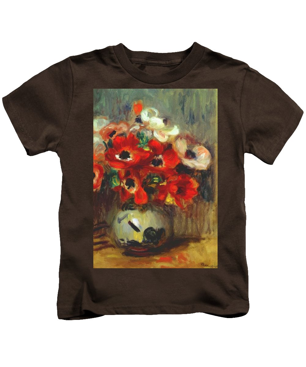 Anemones Kids T-Shirt featuring the painting Anemones 1905 by Renoir PierreAuguste