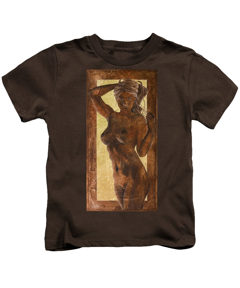 Nude Kids T-Shirt featuring the painting Angel In Gold by Richard Hoedl
