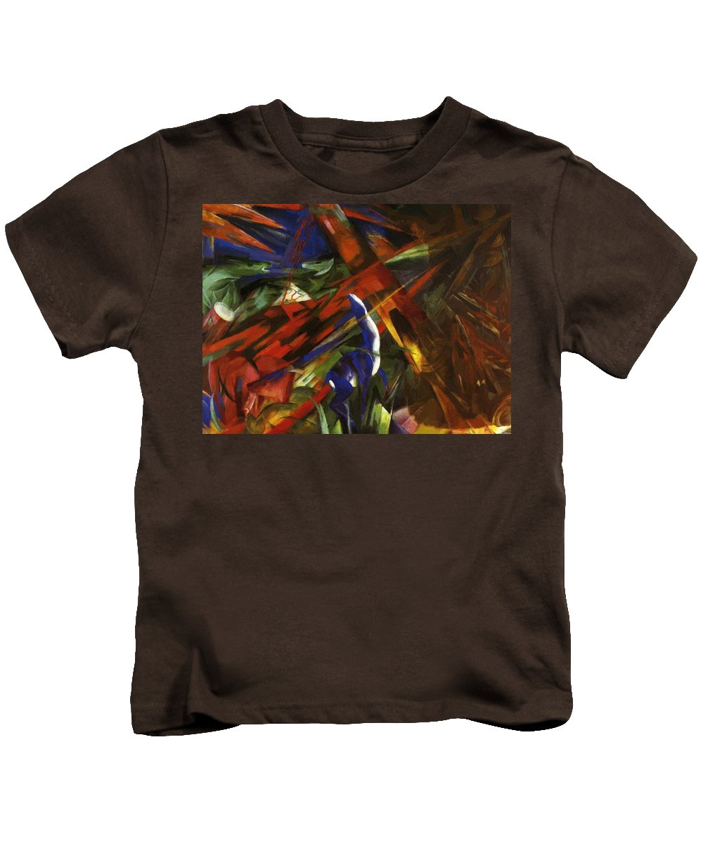Animal Kids T-Shirt featuring the painting Animal Destinies The Trees Show Their Rings The Animals Their Veins by Marc Franz