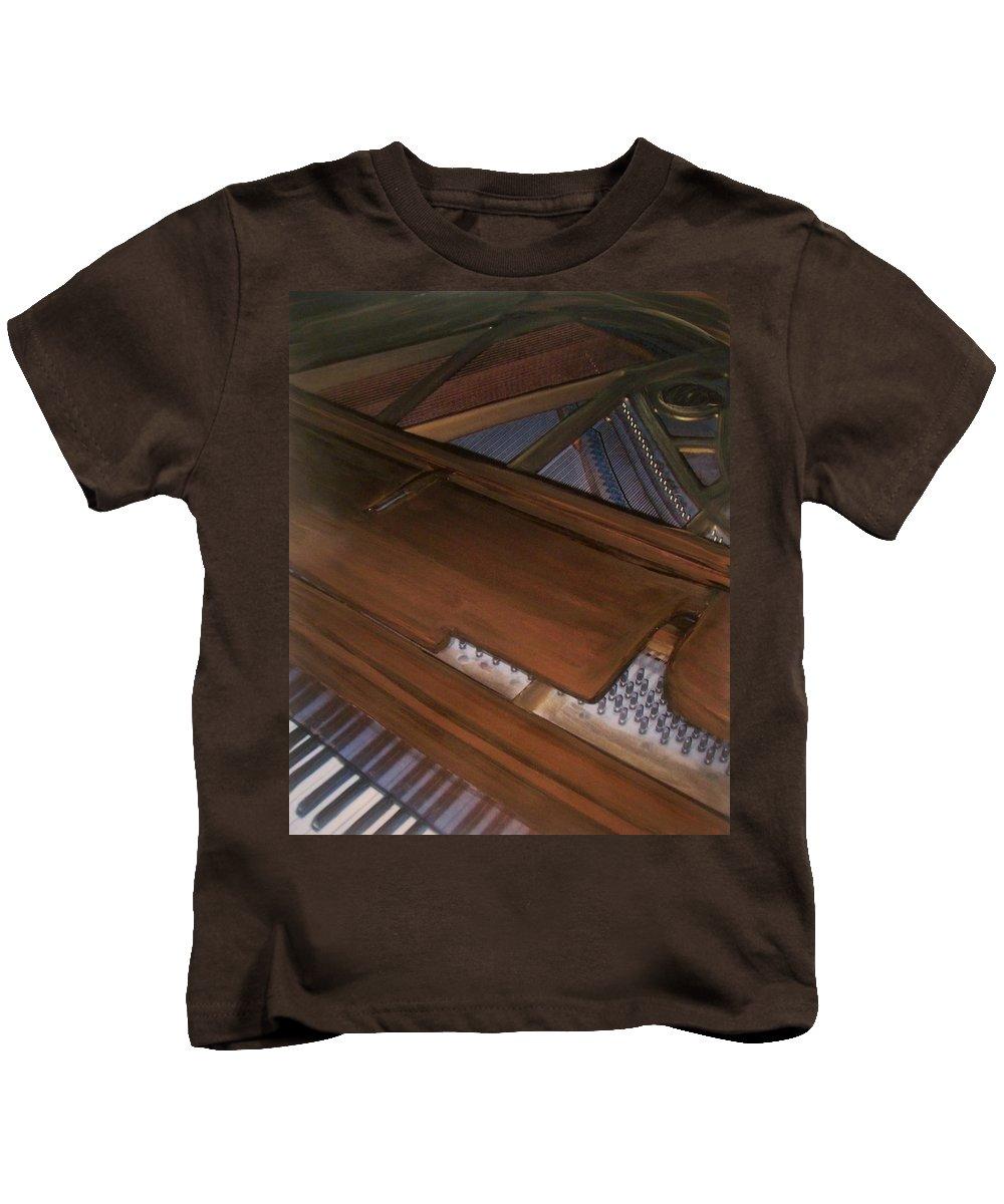 Piano Kids T-Shirt featuring the mixed media Anita's Piano 2 by Anita Burgermeister