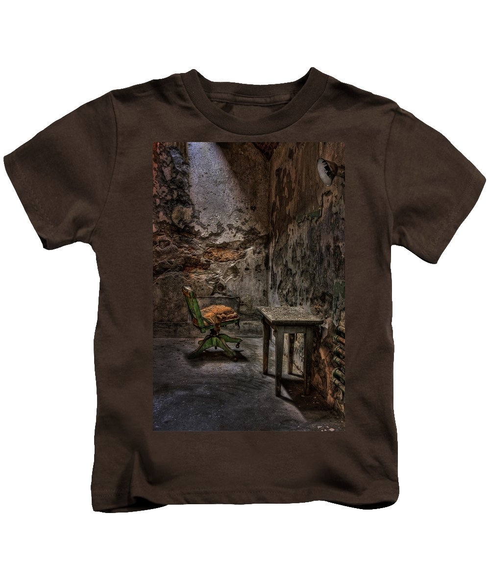 Chair Kids T-Shirt featuring the photograph Another One Bites The Dust by Evelina Kremsdorf