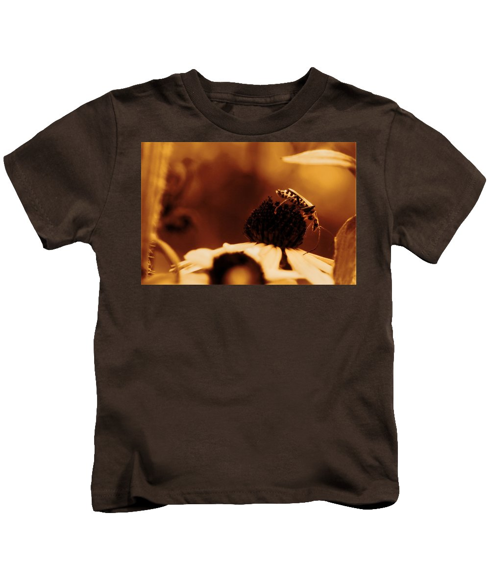 Leatherwing Kids T-Shirt featuring the photograph Anyone Else Down There - Gold Glow by Angela Rath