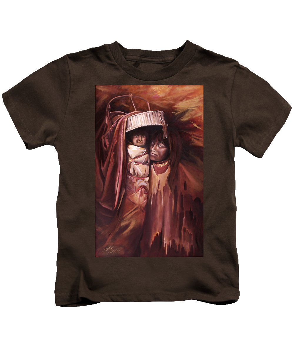 Native American Kids T-Shirt featuring the painting Apache Girl And Papoose by Nancy Griswold