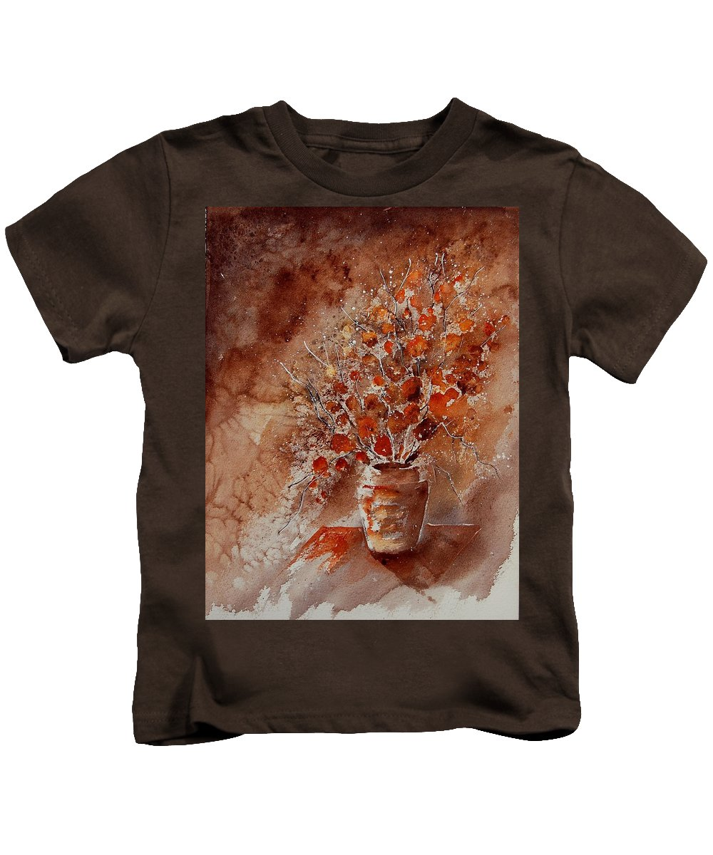 Flowers Kids T-Shirt featuring the painting Aqua 070108 by Pol Ledent