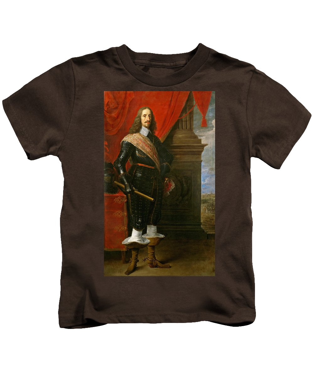 David Teniers The Younger Kids T-Shirt featuring the painting Archduke Leopold Wilhelm With The Siege Of Gravelingen by David Teniers the Younger