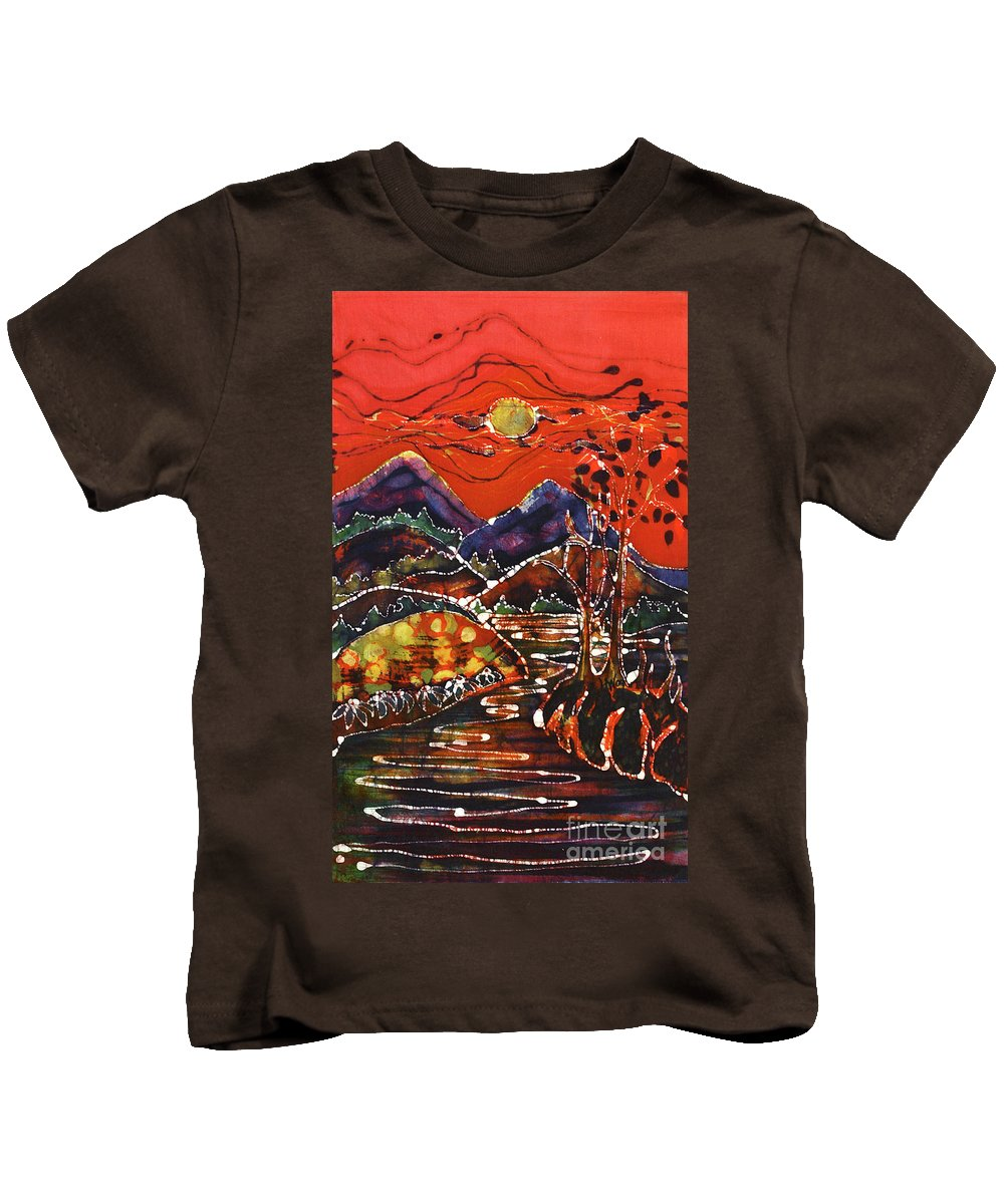 Adirondack Kids T-Shirt featuring the tapestry - textile Autumn Adirondack Sunset by Carol Law Conklin