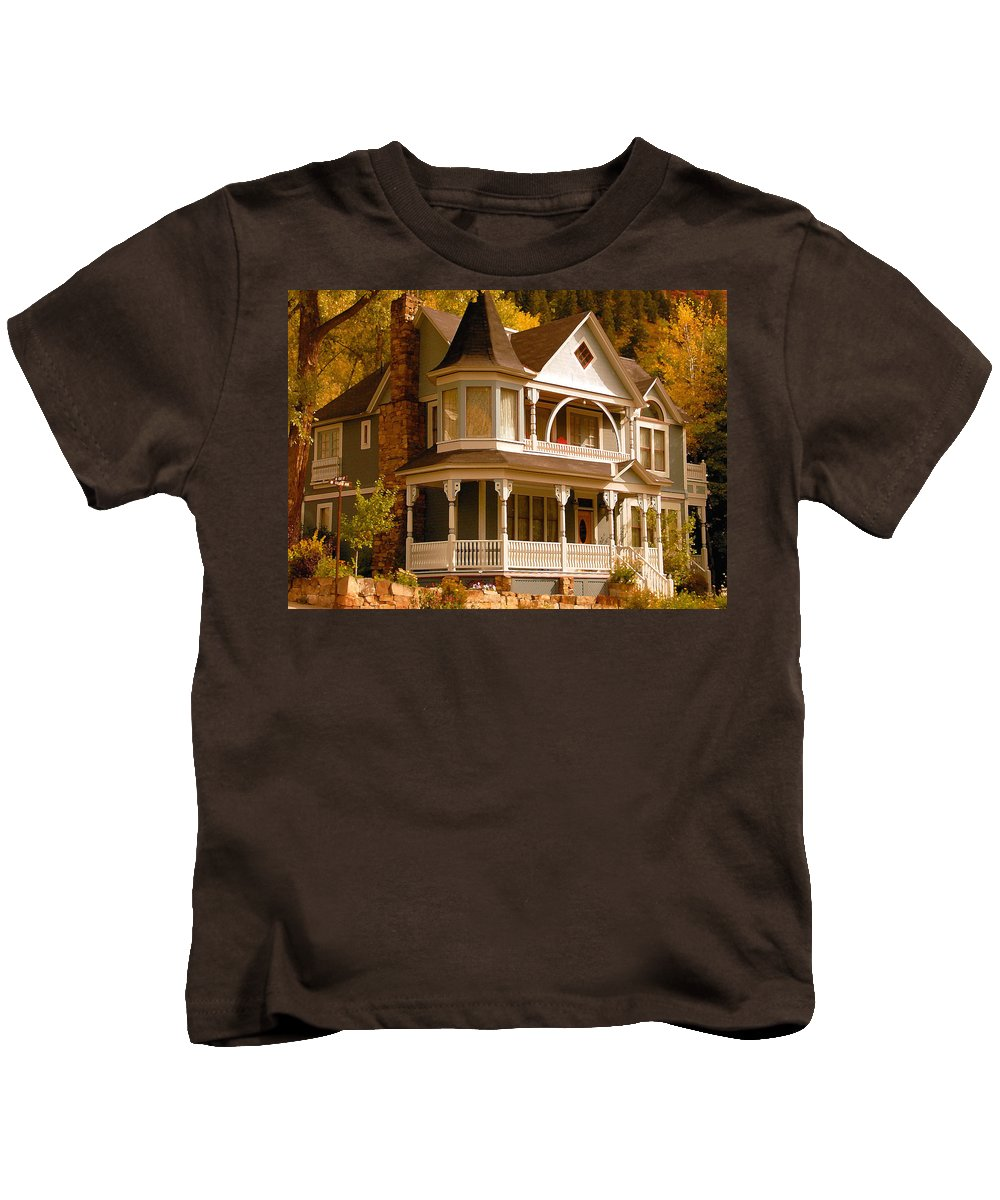 Autumn Kids T-Shirt featuring the painting Autumn House by David Lee Thompson