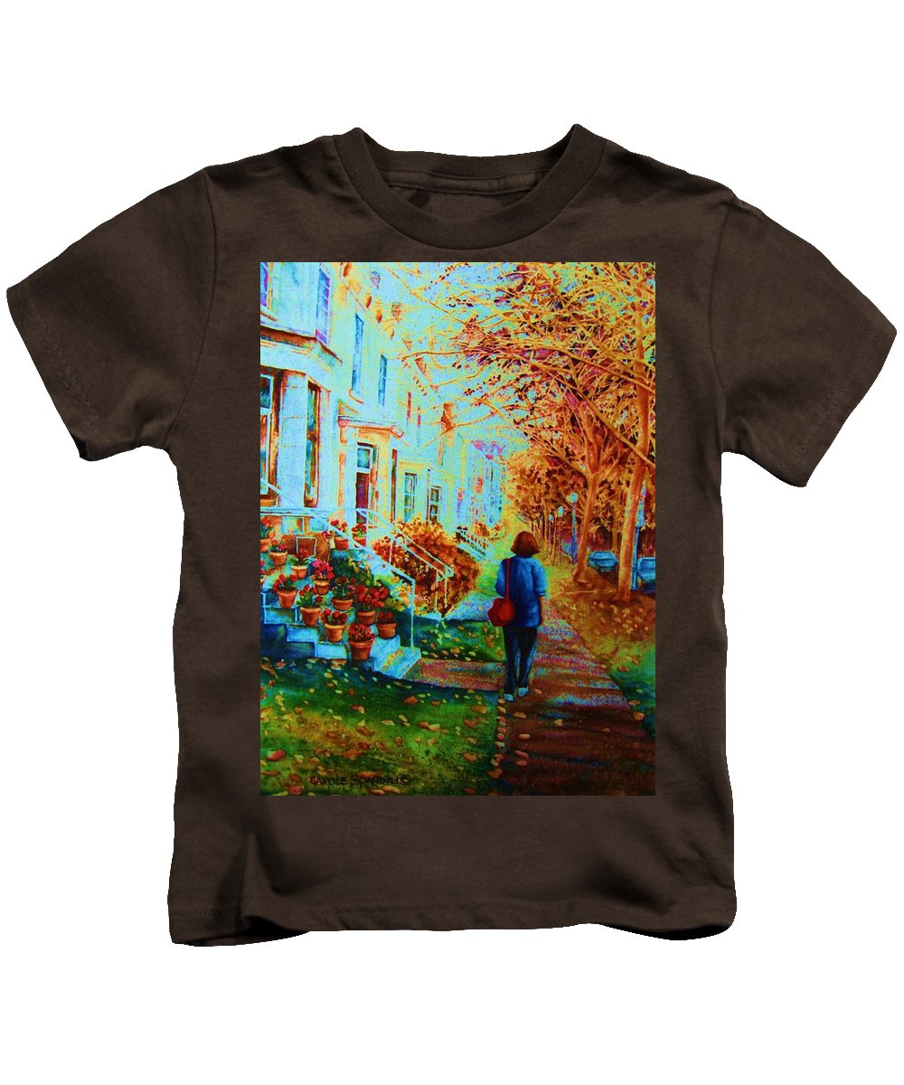 Montreal Kids T-Shirt featuring the painting Autumn In Westmount by Carole Spandau