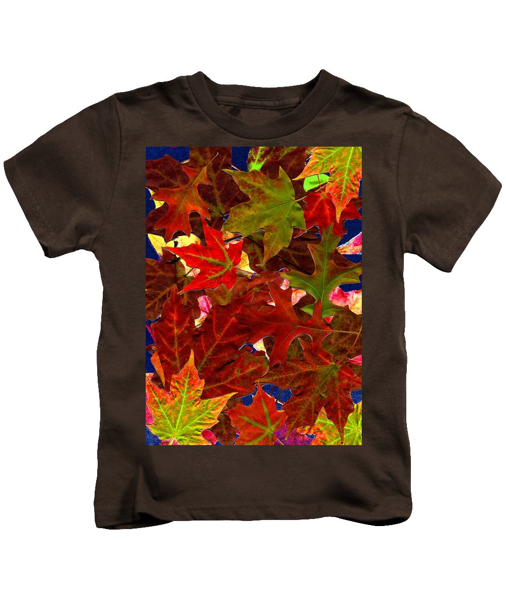 Collage Kids T-Shirt featuring the photograph Autumn Leaves by Nancy Mueller