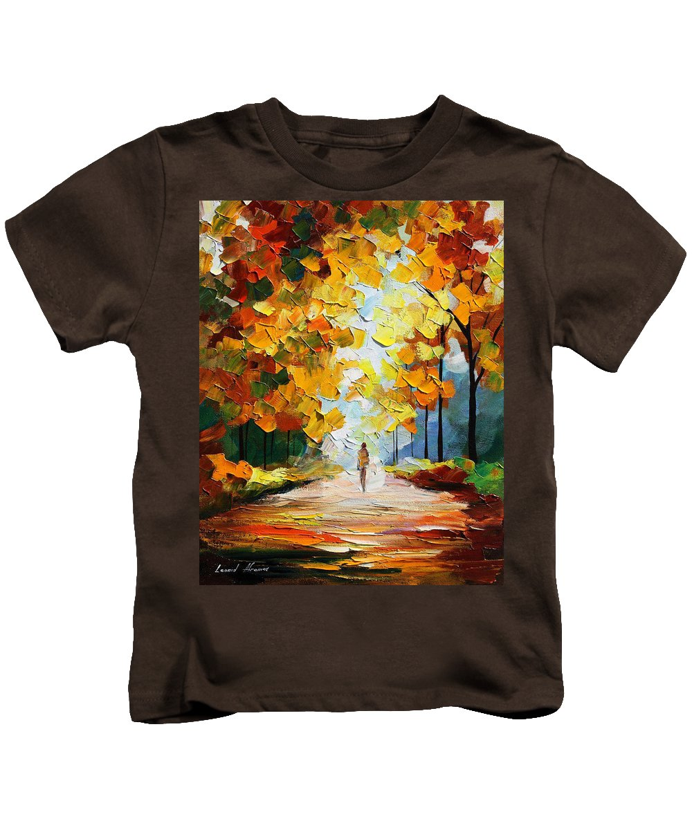 Landscape Kids T-Shirt featuring the painting Autumn Mood by Leonid Afremov