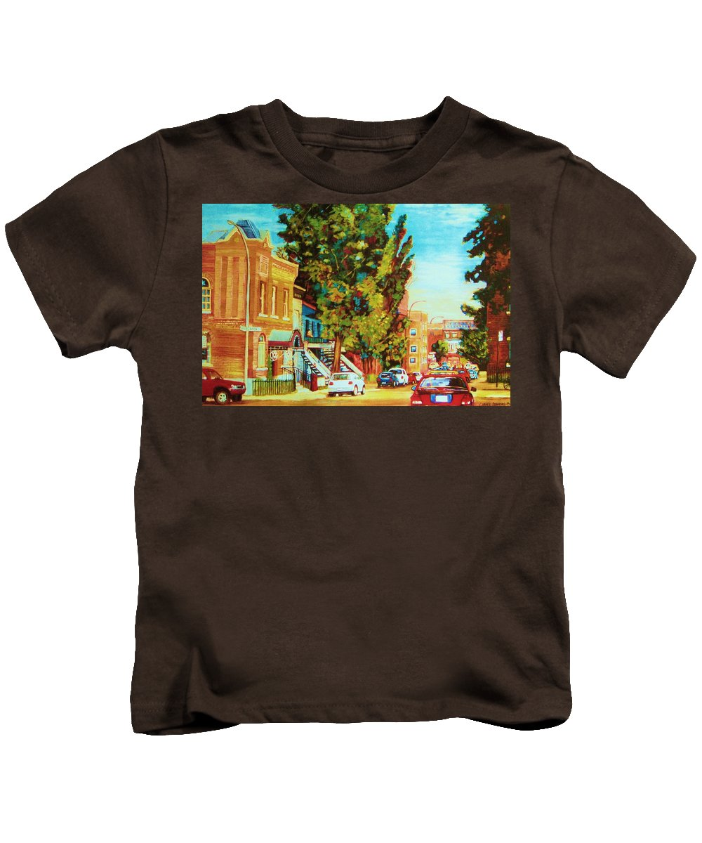 Bagg Street Synagogue Rue Bagg And Clark Kids T-Shirt featuring the painting Autumn On Bagg Street by Carole Spandau