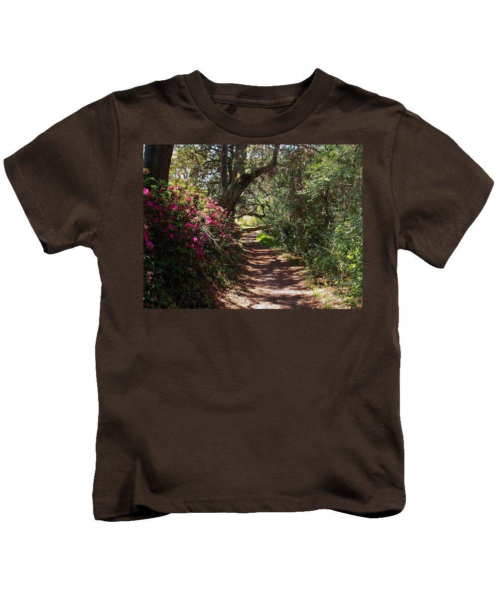 Azalea Kids T-Shirt featuring the photograph Azalea Path by Bob Johnson