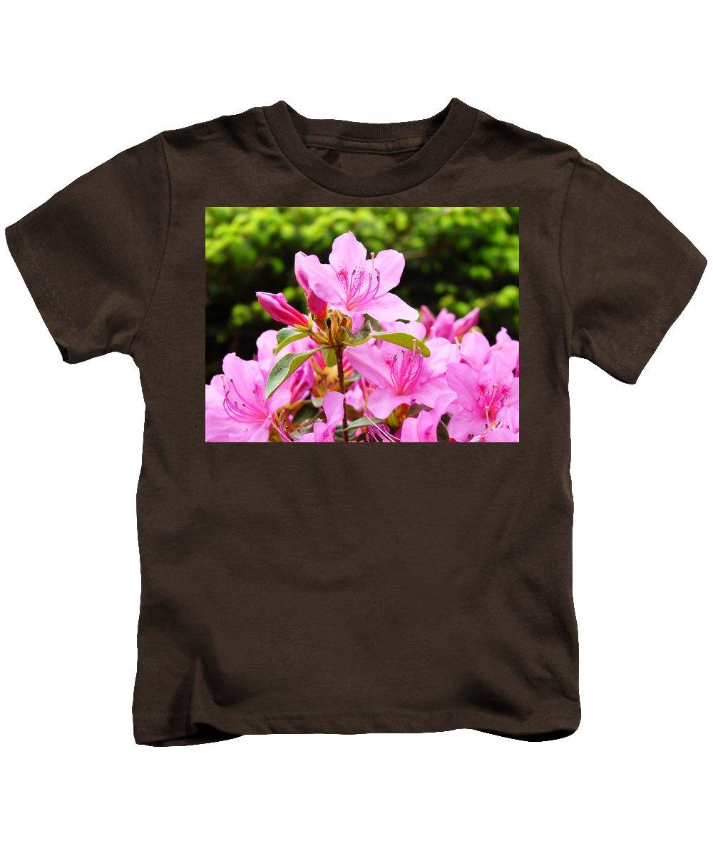 �azaleas Artwork� Kids T-Shirt featuring the photograph Azaleas Pink Azalea Flowers Artwork 12 Landscape Art Prints by Baslee Troutman