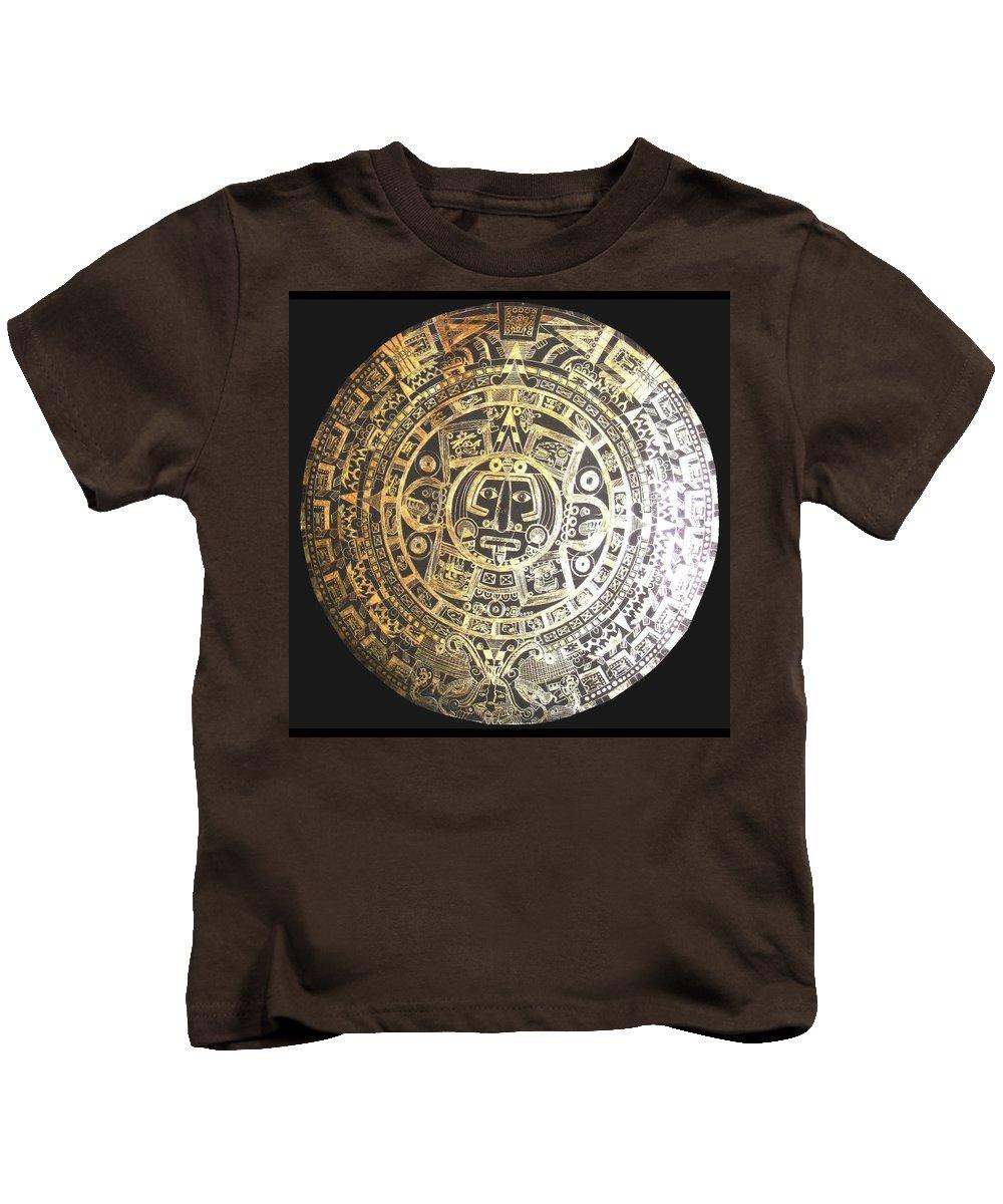 Aztec Kids T-Shirt featuring the drawing Aztec Calendar by Michelle Dallocchio