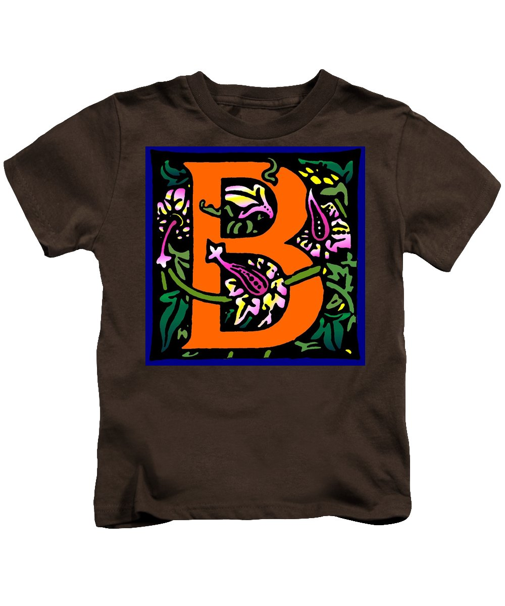 Alphabet Kids T-Shirt featuring the digital art B In Orange by Kathleen Sepulveda