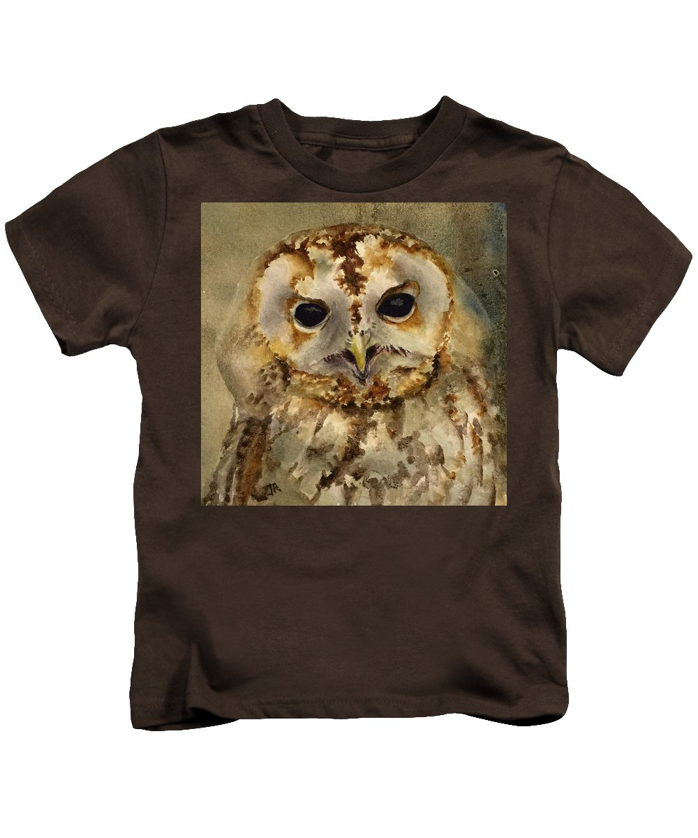 Wildlife Kids T-Shirt featuring the painting Baby Barred Owl by June Rollins
