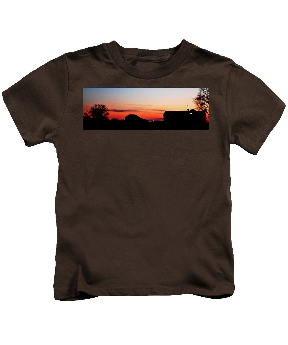 Sunset Kids T-Shirt featuring the photograph Backyard Sunset by Lori Tambakis