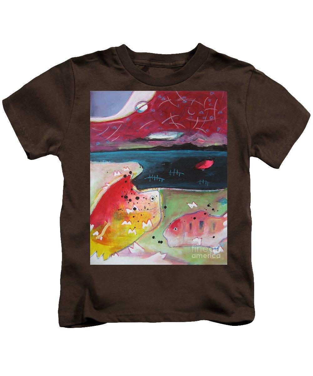 Acrylic Paintings Kids T-Shirt featuring the painting Baieverte by Seon-Jeong Kim
