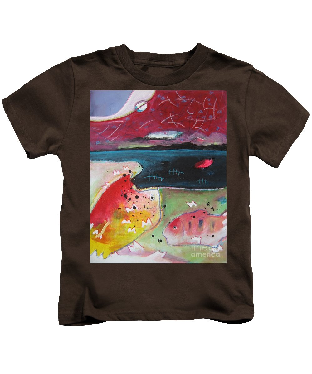 Acrylic Paintings Kids T-Shirt featuring the painting Baieverte by Seon-Jeong Kim