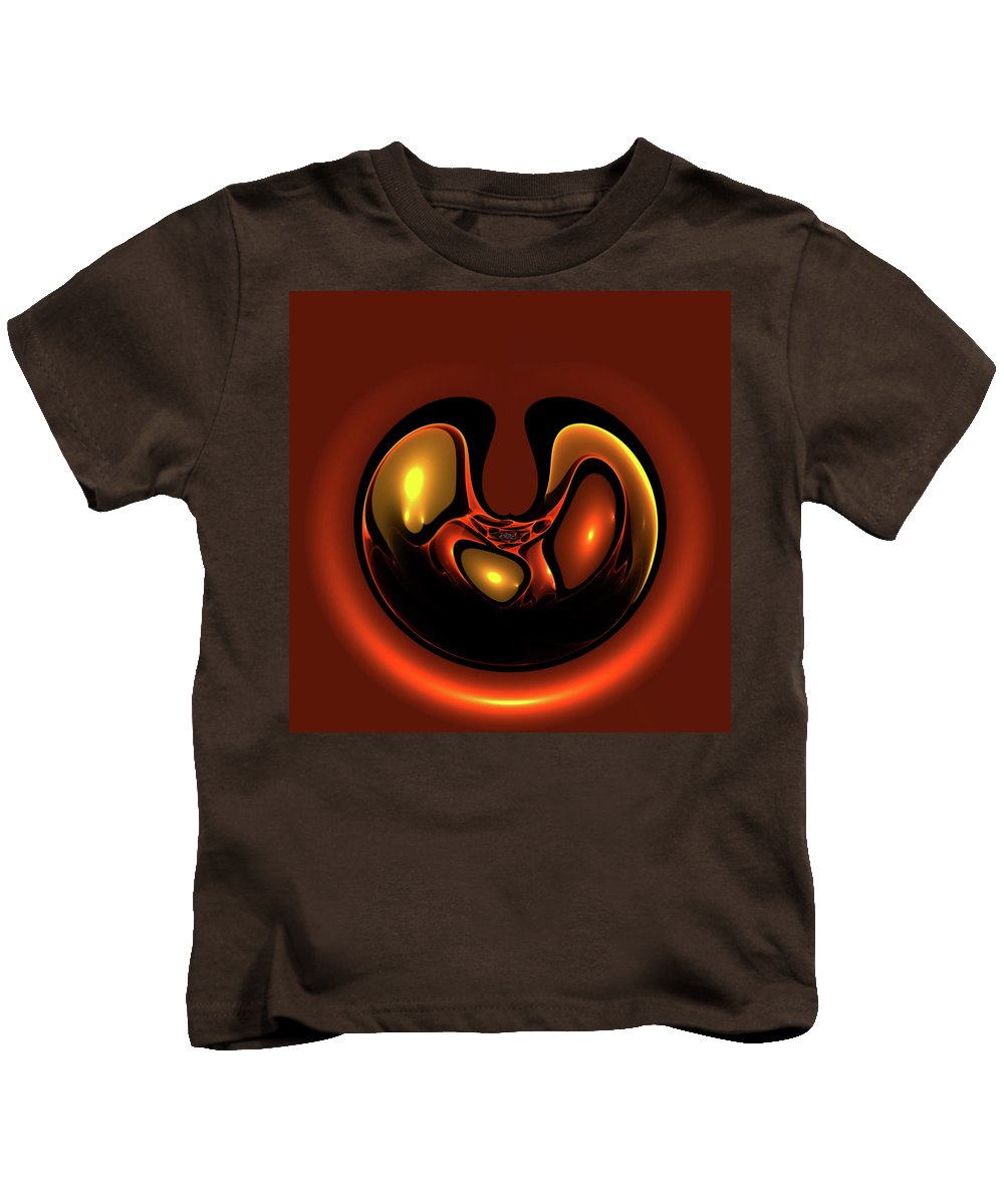 Balance Red Fractal Abstract Energy Power Mystic Impreesionism Expressionism Painting Glance Reflection Dynamic Vintage 70s Lava Kids T-Shirt featuring the painting Balance by Steve K