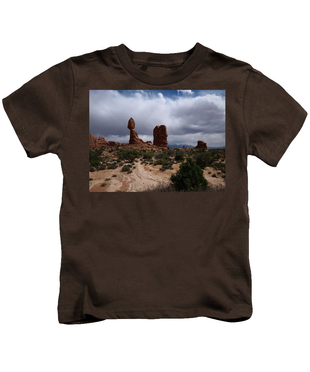 Balanced Rock Kids T-Shirt featuring the photograph Balanced Rock by Denise Ashley