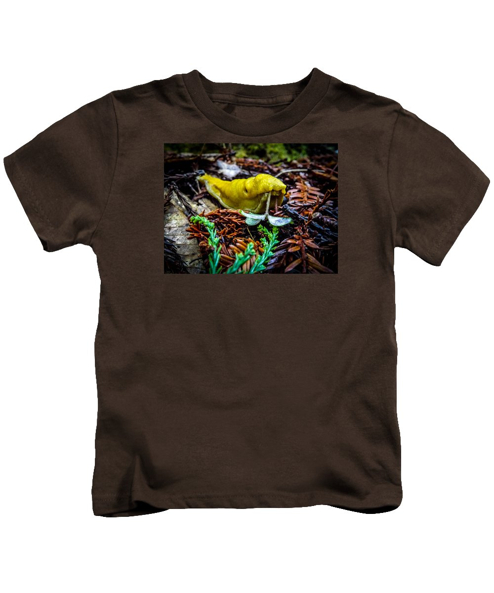 Kids T-Shirt featuring the photograph Banana Slug by Reed Tim