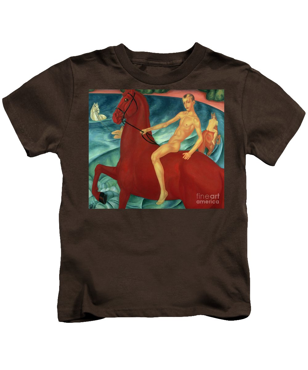 Bathing Kids T-Shirt featuring the painting Bathing Of The Red Horse by Kuzma Sergeevich Petrov-Vodkin