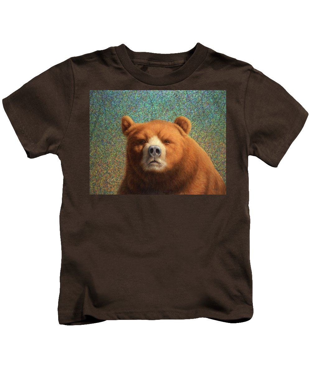 Bear Kids T-Shirt featuring the painting Bearish by James W Johnson