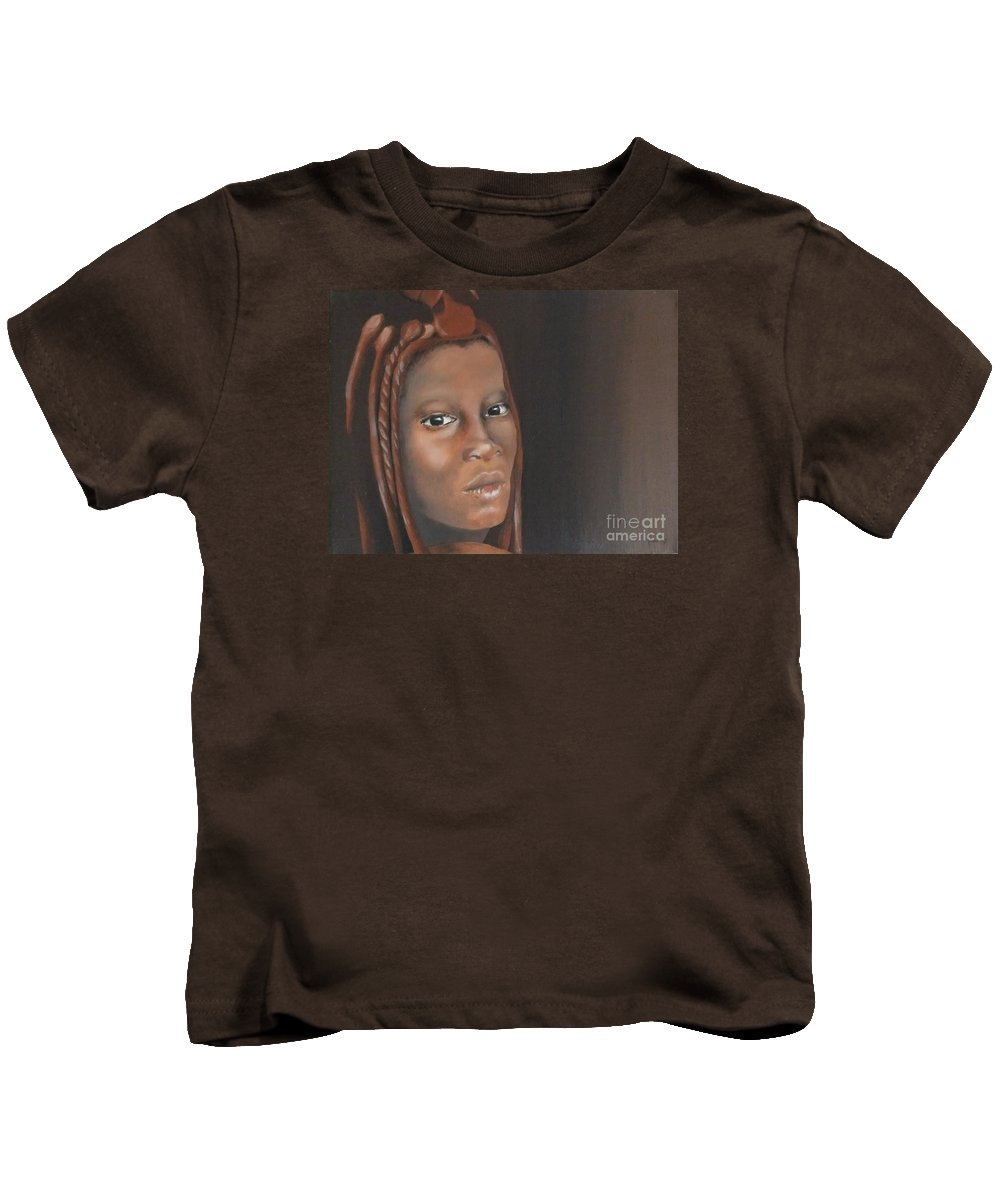 Himba Tribe Kids T-Shirt featuring the painting Beauty by Annemeet Hasidi- van der Leij