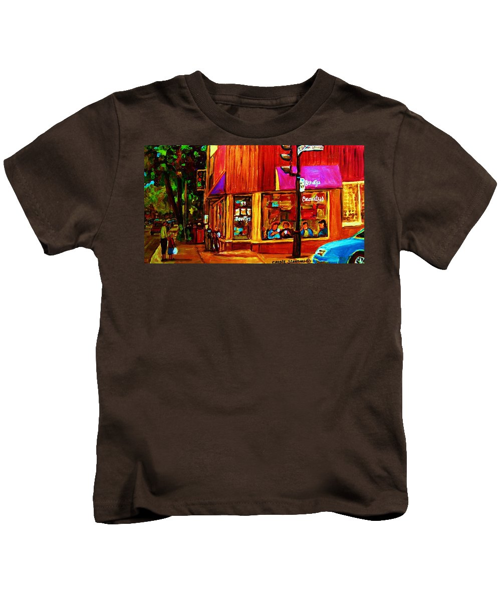 Beautys Restaurant Montreal Kids T-Shirt featuring the painting Beautys Luncheonette by Carole Spandau