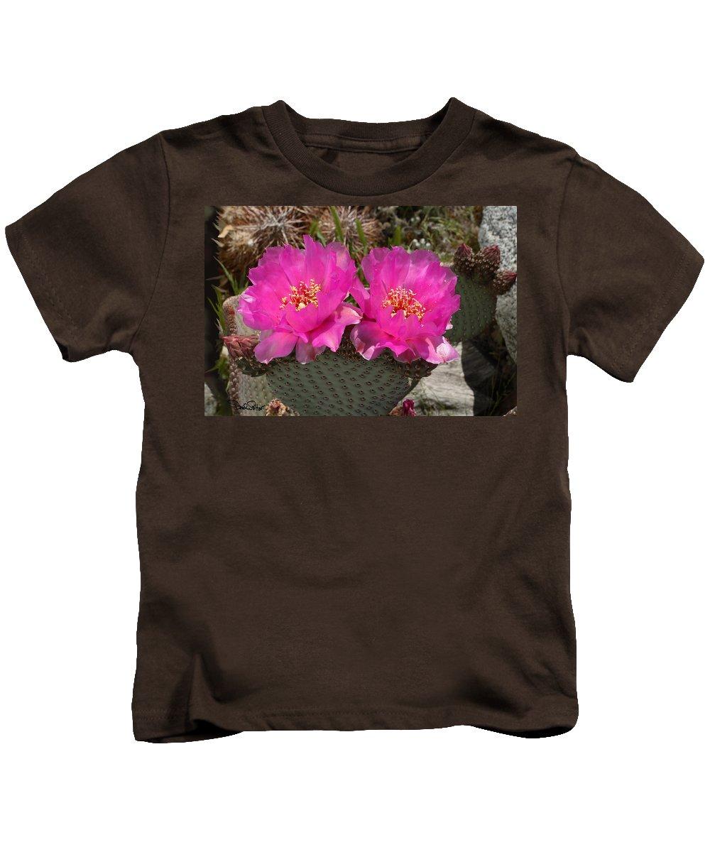 Opuntia Basilaris Kids T-Shirt featuring the photograph Beavertail Cactus Flowers by David Salter