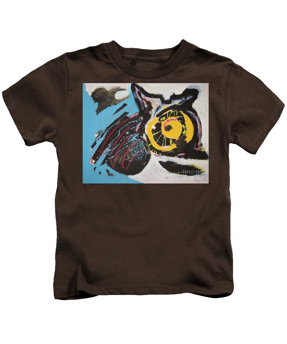 Abstract Cat Paintings Kids T-Shirt featuring the painting Being Lazy by Seon-Jeong Kim