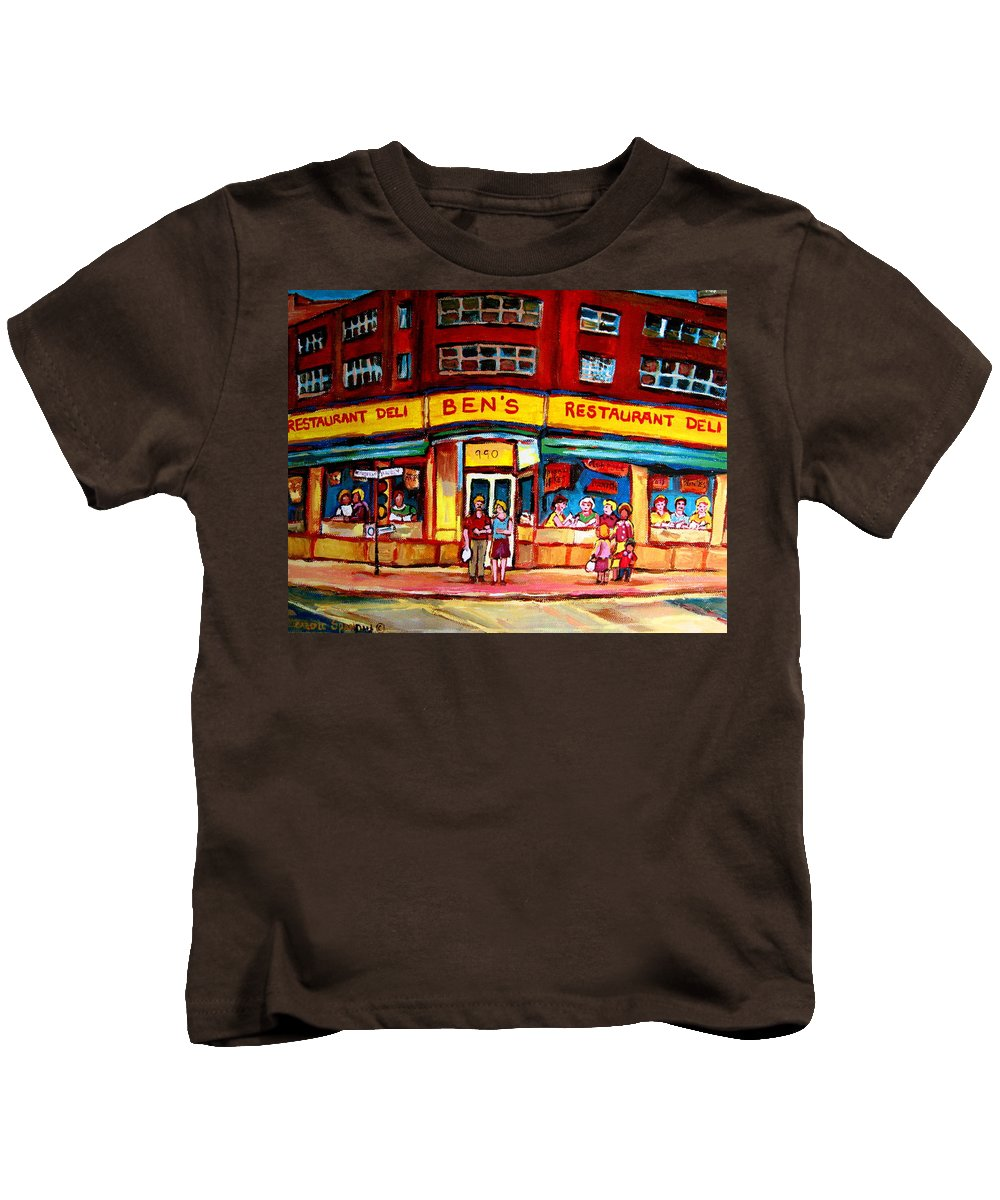 Bens Famous Restaurant Kids T-Shirt featuring the painting Ben's Delicatessen - Montreal Memories - Montreal Landmarks - Montreal City Scene - Paintings by Carole Spandau