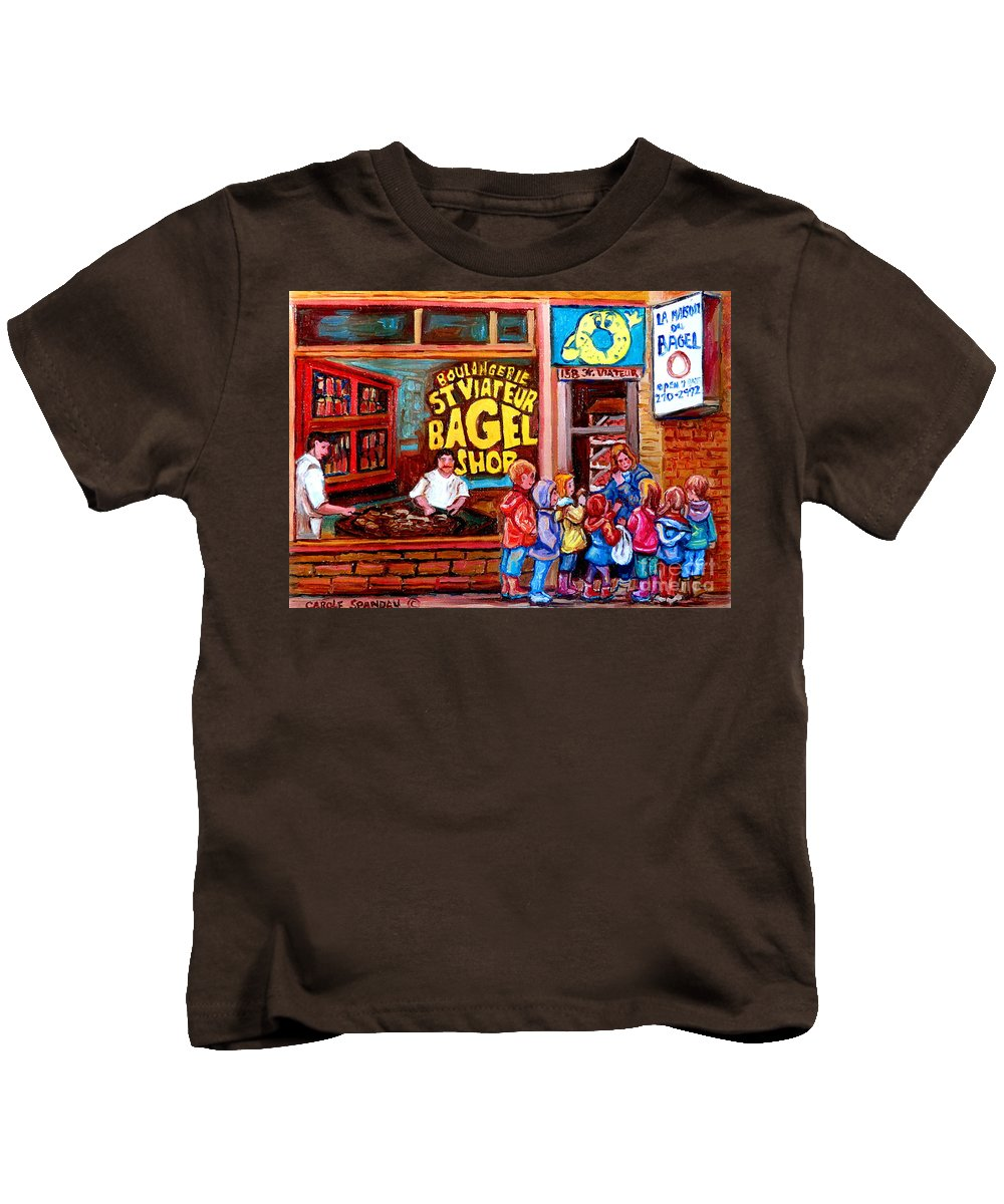 Children Kids T-Shirt featuring the painting Bet You Cant Eat Just One by Carole Spandau