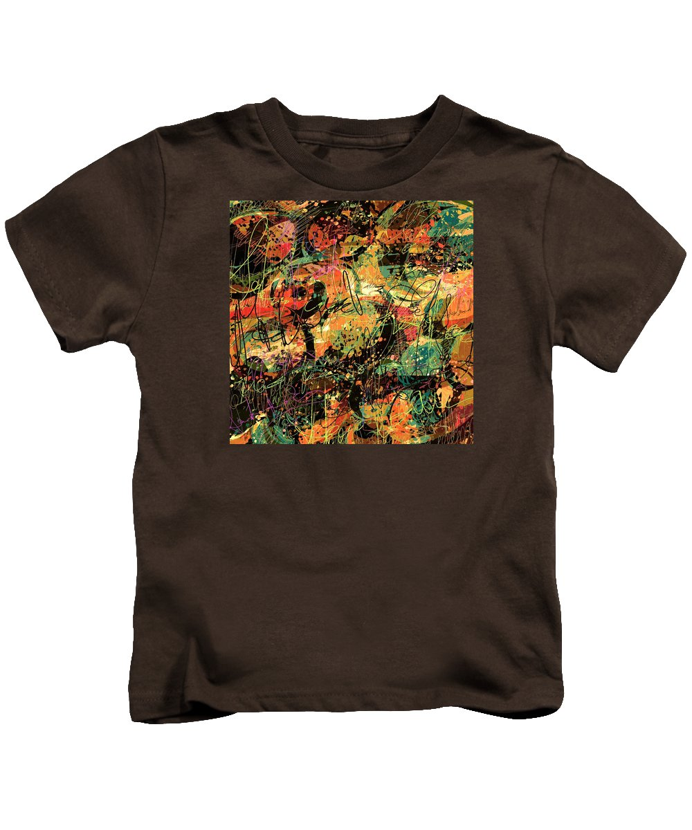 Abstract Kids T-Shirt featuring the digital art Between The Lines by Rachel Christine Nowicki