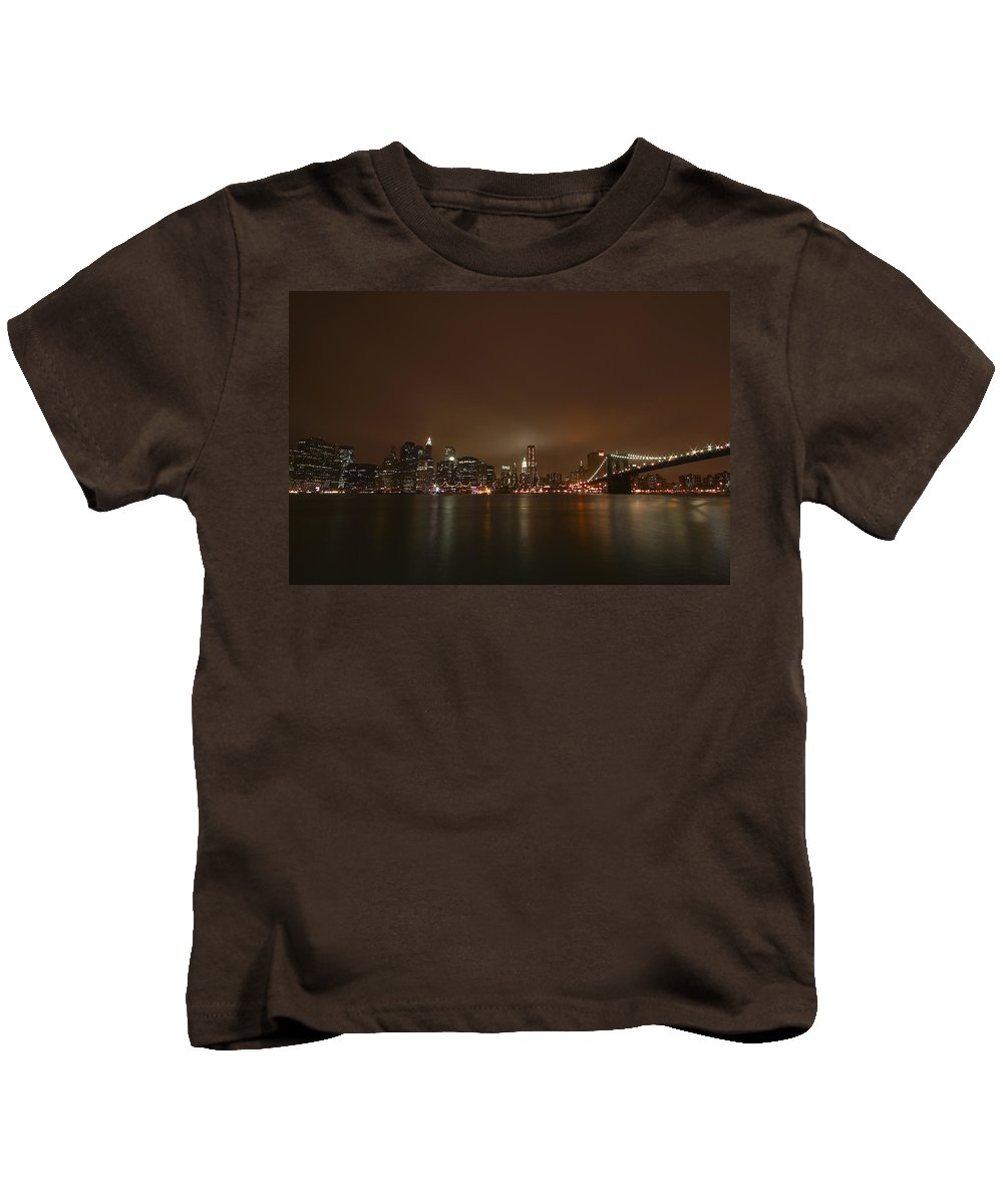 Bridge Kids T-Shirt featuring the photograph Big Apple Lights by Evelina Kremsdorf